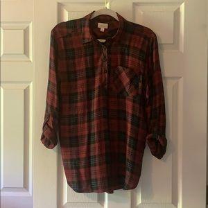 Plaid quarter button tunic